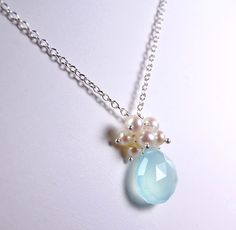 Aqua Chalcedony Necklace, Freshwater Pearl Cluster on Sterling Silver Chain, Wire Wrapped, Seven Bubbles. $36.00, via Etsy.