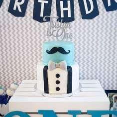 """ONE-derful"""" First Birthday - Mustaches / Little Man Mustache Birthday Cakes, 1st Birthday Cakes, Little Man Birthday Party Ideas, Baby Boy 1st Birthday Party, Baby Shower Cakes For Boys, Baby Boy Shower, Little Man Cakes, Fondant Bow, Cakes For Men"""