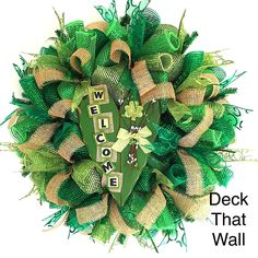 St. Patrick's Day Green Mesh Wreath with Burlap