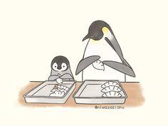 Penguin Cartoon, Penguin Art, Cute Cartoon, Cartoon Art, Cute Little Animals, Baby Animals, Funny Animals, Kawaii Drawings, Cute Drawings