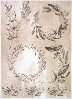 Rice Paper for Decoupage Decopatch Scrapbook Craft Sheet A/3 Taupe Leaves