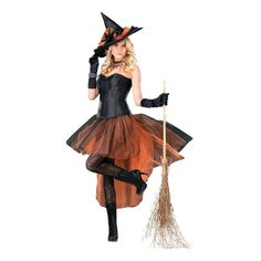 Cast a spell over everyone when they see you in this bewitching witch costume! This alluring costume features an orange and black tulle skirt and a satin corset top. Pair this costume with some tights and a pair of high-heels and you're ready to wow guests at the next Halloween party! Polyester. <br />Includes:<br />o Dress<br />o Witch hat<br /><br />Special Shipping Information: This item ships separately from other items in your order. Imported. Adult Halloween, Halloween Costumes, Halloween Party, Couple Halloween, Black Layers, Corset, Witch, Tulle, Satin