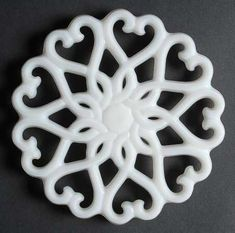 "Fostoria ""Monroe"" Pattern Trivet in Milk Glass (1954-1965)"