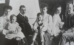 From left to right : Alexandrine with her son Prince Knud of Denmark; Christian X of Denmark; Grand Duchess Anastasia with her grandson Frederick on her lap; Cecile and Friedrich Franz IV, Grand Duke of Mecklenburg-Schwerin.