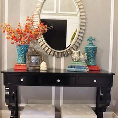 Cheerful foyer display!   #foyer #foyerideas #foyerinspiration #foyerdesign #interiordesign #entry #frontentry #mudroom #console #mirror #beautiful #functionaldesign #beauty #details #styling #staging #instagood ( # @deegallerie via @latergramme )  #SpringGreenInteriorDesign #SpringGreenDesign #SpringGreenLoves
