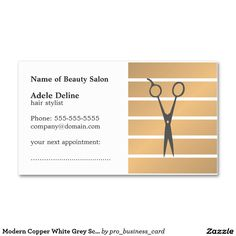 Simple elegant women back massage appointment card medical health modern copper white grey scissor appointment card colourmoves