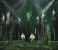 Fangorn Forest scene from LOTR West End. The ominous, backlit cyc made of woven branches is a lot like what I envision for Medea. You can't quite see through this one (since Fangorn is thousands of years old and very wild) but it creates the sense of an entire forest with just one layer of cyc and some green lighting.