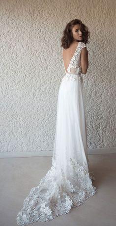 bridal shortsleeve V neckline floral applique bohemian soft a line wedding dress sweep train flora-bride #weddingdress #wedding #bride #bohemian #bohobride