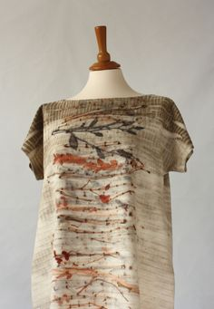 Red2White // silk fabric tunic. Eco printed and hand sewn.