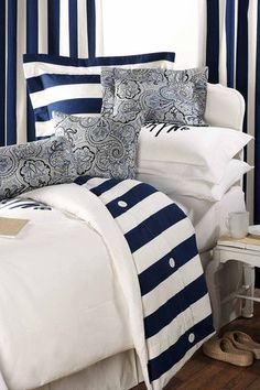This nautical bedding set by American Made Dorm and Home is stunning! Get yours now while supplies last! Dorm Bedding Sets, Twin Xl Bedding, Duvet Sets, White Bedding, White Bedroom, Navy Comforter, Nautical Bedroom, Nautical Home, Bedroom Decor