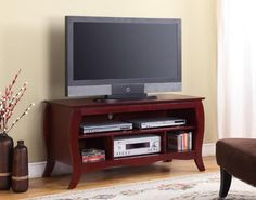 King's Brand E1040 Wood TV Stand Console with Shelves, Cherry Finish