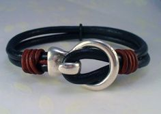 Rustic Chunky Double Black Leather Bracelet  by RoEnchantedDesigns, $27.00