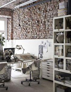 feminine industrial workspace details