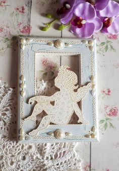 Vintage frame decor wall angel, handmade, valentines day shabby chic frame angel gift for lovers cupid decor painting wedding gift newlyweds
