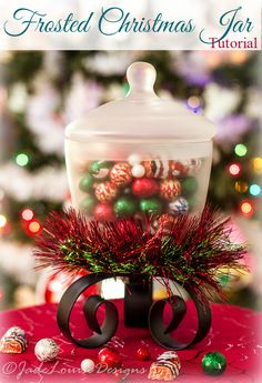DIY Frosted Christmas Candy Jar tutorial filled with SweetWorks Candy! Easy Christmas Crafts to add some fun Christmas Decor #SweetworksHoliday #sponsored