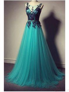 Charming Applique Tulle Floor Length   Prom Dress  Evening Dresses #SIMIBridal #promdresses
