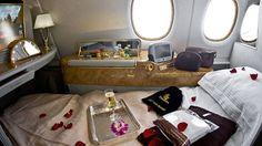 Cabine da primeira classe do Airbus A380, da Emirates, que faz a rota Nova York - Dubai