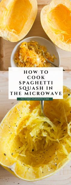How to Cook Spaghetti Squash in the Microwave - ready in 20 minutes! - Recipes from Nutmeg Nanny - Spaghetti Squash How to Cook Spaghetti Squash in the Microwave - ready in 20 minutes! - Recipes from Nutmeg Nanny - Spagetti Squash Microwave, Spaghetti Squash Recipes, Chicken Spaghetti Squash, Microwave Recipes, Cooking Recipes, Healthy Recipes, Cooking Ribs, Healthy Breakfasts, Gourmet