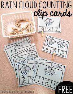 These Rain Cloud Counting Clip Cards are a fun, hands-on way to practice counting from 0 to These fun clip cards are perfect for math centers in pre-k and kindergarten! Kindergarten Math Activities, Counting Activities, Spring Activities, Maths Resources, Weather Activities, Preschool Classroom, Preschool Weather, Weather Crafts, Weather Center