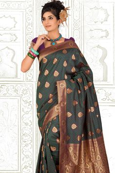 Traditional Printed Party Saree; Deep Violet and Jade Green Benarasi Silk Printed Casual and Party Saree