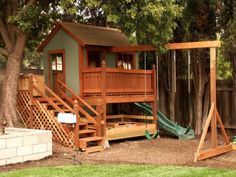 Architecture : Fascinating Cool Playhouses Ideas For Your Kids - Cool wooden playhouse with wooden stairs, climbing boards and red slider. Build A Playhouse, Playhouse Outdoor, Wooden Playhouse, Playhouse Ideas, Childs Playhouse, Backyard Treehouse, Backyard House, House Yard, Kids Playhouse With Slide