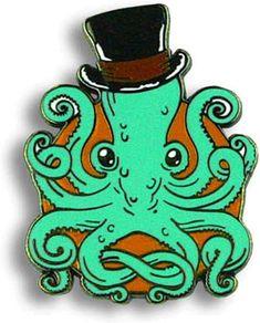 Gentleman Octopus Enamel Pin by Trixie & Milo - Steampunk retro kracken collectable Octopus Pictures, Gentleman, Steampunk, Enamel, Sea, Amazon, Retro, Clothing, Outfits
