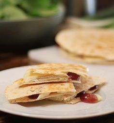 Finished brie and grape quesadilla