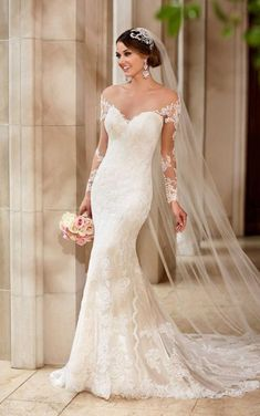 Stella York Ivory/Cafe/Porcelain Lace/Satin/Mesh 6176 Feminine Wedding Dress Size 8 (M) - Tradesy Wedding Dress Trumpet, Size 12 Wedding Dress, Wedding Gowns With Sleeves, Wedding Dress Trends, Gorgeous Wedding Dress, Long Sleeve Wedding, Long Wedding Dresses, Bridal Dresses, Lace Gowns