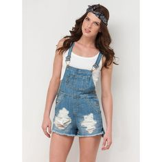 Destroy The Competition Shortalls BLUE ($35) ❤ liked on Polyvore featuring blue and short overalls