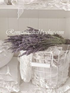 Romantic Shabby Chic. Lavender, lace and linens.