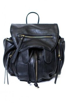 "Zipped Up Leather Knapsack, 40$, *soft textured vegan leather knapsack that expands for extra storage, @ 14"" wide x 16""T x 7""D + Expandable"