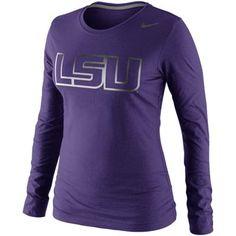 Nike LSU Tigers Ladies Seasonal Logo Tri-Blend Long Sleeve T-Shirt - Purple