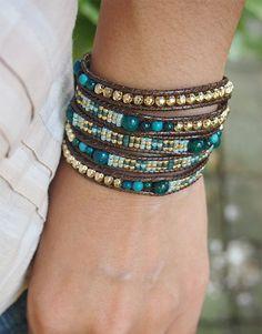 Green stone mix Wrap bracelet with Seed beaded Boho Wrap