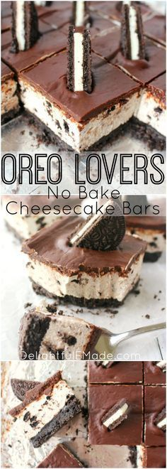 The ultimate dessert for anyone that loves OREO cookies! A thick OREO crust, creamy OREO no-bake cheesecake filling, and topped with a delicious layer of chocolate. This easy, no-bake dessert is perfect for just about any occasion! #Oreo