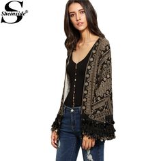 Sheinside Coffee Boho Tribal Print Coin Fringe Trim Tops Women Beach Wear Clothing Vintage Style Open Front Kimono