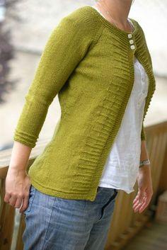 tricot gilet femme - top down. sans couture. bordure fantaisie [tuto fr Ravelry]
