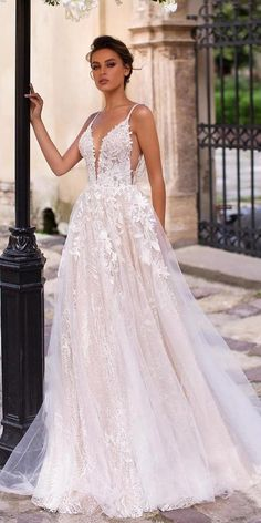 2020 Best Beautiful Lace Bridesmaid Dresses Online Country wedding dress with long lace vintage wedding dress with unique lace details from Stella YorkBeautiful A-line wedding dresses with . Top Wedding Dresses, Wedding Dress Trends, Bridal Dresses, Dresses Dresses, Baby Dresses, Wedding Dress Beach, Aline Wedding Dress Lace, Elegant Dresses, Ceremony Dresses
