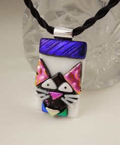 Cat Jewelry -Feline - Black Cat - Cat Pendant -Dichroic Fused Glass Jewelry - Kitty Necklace - Halloween Jewelry X3477