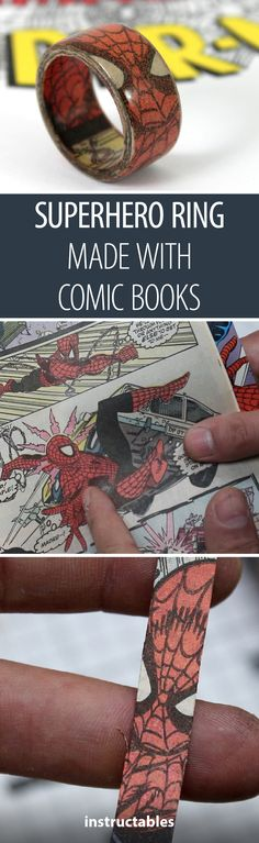 Superhero Ring Made With Comic Books - Spiderman Ring Create a superhero ring by laminating pa Superhero Rings, Create A Superhero, Book Jewelry, Paper Jewelry, Jewelry Crafts, Comic Book Crafts, Old Comic Books, Crochet Geek, Beginner Crochet