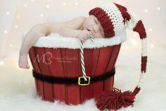 Christmas Crochet Stocking/Elf Hat for Newborn by pitterpatcrochet