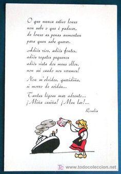 GALICIA. EMIGRANTE. POESÍA DE ROSALÍA DE CASTRO. (Postales - Estilo) Proverbs Quotes, Spain, Lettering, Funny, Books, Humor, Madrid, Friends, Tattoos