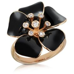 Rosato Marigold - Diamond and 18K Gold Black Small Flower Ring ($1,375) ❤ liked on Polyvore