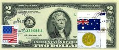 $2 DOLLARS 2013 STAMP CANCEL FLAG UN FROM AUSTRALIA LUCKY MONEY VALUE $125 Two Dollars, Legal Tender, Flag, Australia, Stamp, Money, Gift, Silver, Stamps