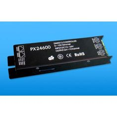 PX24600 DMX512/1990 Controller DC-12V-24V 1-Channel-6A -     Product Description Download User Guide With advanced micro-computer control technology, this DMX512 Decorder convert the widely used DMX512/1990 signal to analog signal. Support DMX dimming function (prior) and 0-10V analog signal dimmer.  SPECIFICATION  Decode CH.: 1 Input Signal: DMX...