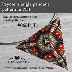 Peyote triangle patterns, pattern for triangle pendant, peyote patterns, beading. Triangle Pattern, Bead Loom Patterns, Peyote Patterns, Beading Patterns, Loom Bands, Herringbone Stitch, Brick Stitch, Peyote Beading, Stud Earrings