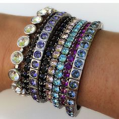 A sparkling wrist party with Touchstone Crystal and swarovski bracelets!  Shop online at: www.staybeautifulwithalisonandsparkle.com #touchstonecrystal #Swarovski #jewelry #wristparty #bracelets #fashion #sparkle #bling #loveit Photo Credit: @sassalone