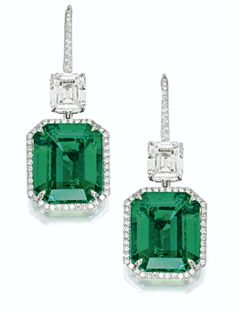 Step-cut emerald and diamond pendant earrings. Via Southeby's.