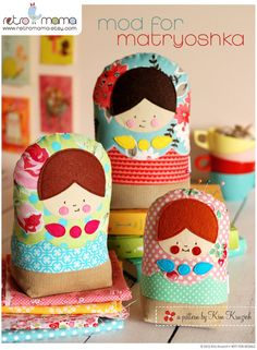 """Matryoshka Doll Sewing Pattern - Instant Download!  Are you mad for matryoshka dolls? Well now you can be mod for matryoshka with my latest sewing pattern! These cute and modern gals are just the thing to brighten up your day, perched on a bookshelf, holding your straight pins, or as a friendly doorstop. This pattern is great for beginner stitchers and beyond.  The pattern includes 3 sizes, small (5-3/4""""H), medium (7-1/4""""H), and large (8""""H). You will receive a 10-page pattern in PDF..."""