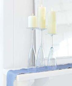 If you find yourself with a mismatched collection―or without bubbly―flip thick-walled Champagne flutes upside down to create a beautiful grouping of candle stands for a shelf or a mantel. Use heavy wineglasses for table centerpieces, as the wider mouths will provide more stability to withstand bumping.