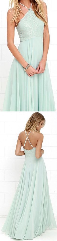 Simple Mint Halter Criss-Cross Prom Dress, Straps Ankle Length Bridesmaid Dress with Lace P0479 #promdresses #longpromdresses #2018promdresses #fashionpromdresses #charmingpromdresses #2018newstyles #fashions #styles #teens #teensprom